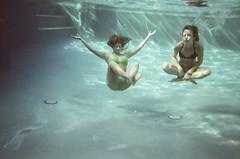 Uh-oh. (Sarah Chaput de Saintonge) Tags: blue film water pool swim us float blowfish waterproof disposable