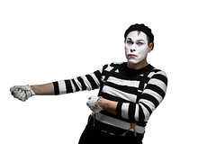 Mime pulling invisible rope (Stefan Tell) Tags: lighting light portrait white paper studio model nikon key background main strip diagram setup mime softbox striped magnum reflector compact d1 octa 247028 profoto 8514 d700