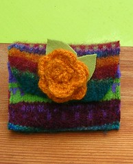 Upcycled Felted Sweater Purse (woolbrain knitter) Tags: red orange flower cute green wool floral felted knitting purple felting handmade wallet small purse change mauve brightcolors colourful etsy recycling adornment accessory upcycling woolbrain upcycledsweater