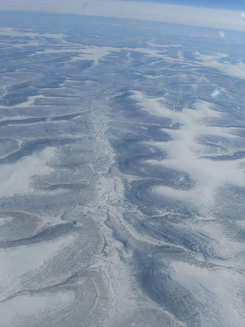 飛行機から見た景色のフリー写真素材