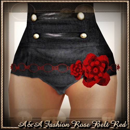 A&A Fashion Rose Belt Red