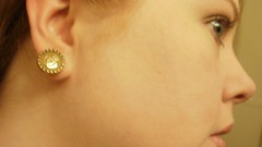 24k gold plated button earring