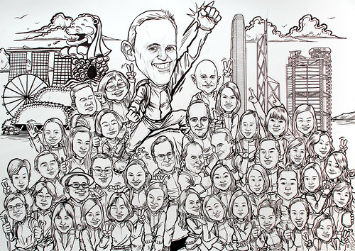 Group caricatures for UBS - pen and brush outline