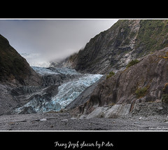 Franz Jozef glacier (pDOTeter) Tags: newzealand mountains ice nature lines landscape rocks glacier material westcoast hdr blueice smallpeople photomatix nikond90 detailsenhancer franzjozef highpasssharpened