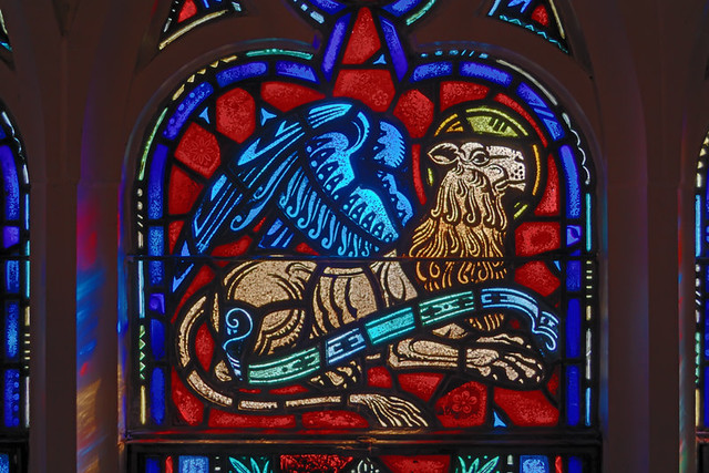 Saint Mary Roman Catholic Church, in Alton, Illinois, USA - detail of stained glass window, lion of Saint Mark