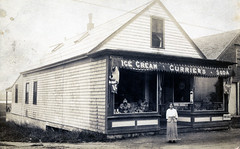Currier's Ice Cream Shop Washington Street (Blue Fish River Bridge) (Drew Archival Library) Tags: duxbury glassplatenegative facey wrightbuilding surplusstreet drewarchives