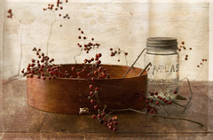 winter berries... country style (..Ania.) Tags: stilllife berries jar textured redberries woodenbox winterberries vintagejar texturesbykimklassenthankyou shakerwoodenbox