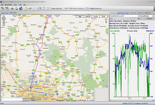 GPS data log: Melbourne to Seymour by train
