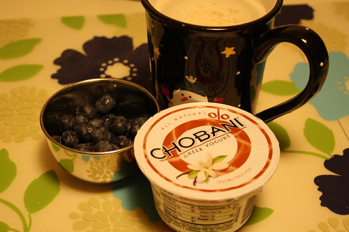 chobani vanilla, blueberries, coffee