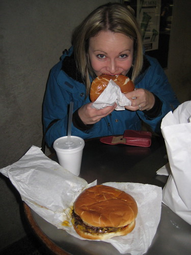 Lisa with cheeseburger at Kopps