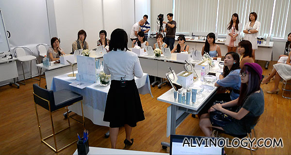 The bloggers giving their full attention at the workshop