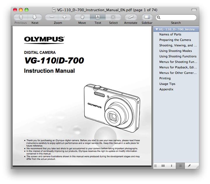 Olympus VG-110 Manual