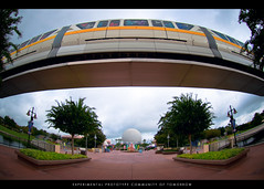 Monorail Monday - EPCOT (Adam Hansen) Tags: photoshop lens epcot nikon disney fisheye disneyworld adobe monorail wdw waltdisneyworld epcotcenter spaceshipearth lightroom futureworld d90 nikon105mm disneyvacation nikonfisheye monorailyellow disneyphoto disneypicture wdwphotography monorailmonday