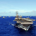 USS Ronald Reagan and other ships from RIMPAC 2010 transit the Pacific.