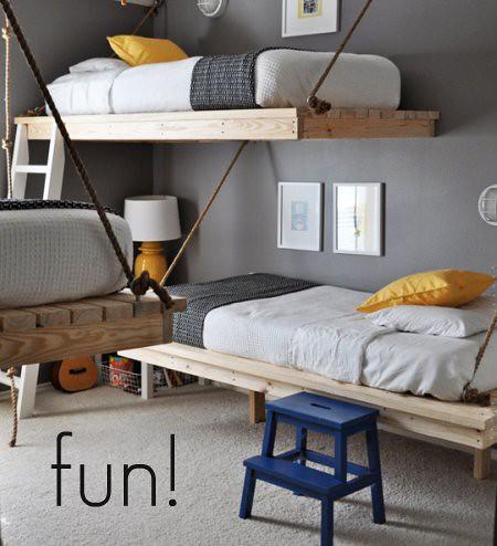 triple hanging bunkbeds
