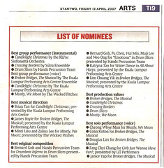 The Star - Janice Yap, nominated for Best Solo Performance (Voice)