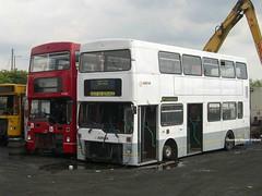 M1405 and M1248 (MCW1987) Tags: barnsley bus scrap yard dismantlers london transport mcw metrobus mk1 m1248 b248wul m1405 c405buv leaside arriva