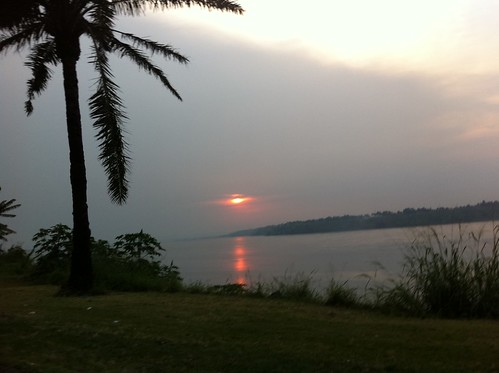 Sunset over the Congo River by amalthya