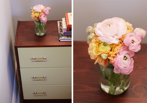 nightstand top, flowers