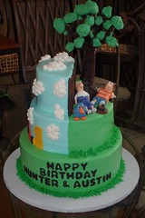 "Dual birthday cake of Phineas and Ferb and Mickey mouse clubhouse • <a style=""font-size:0.8em;"" href=""http://www.flickr.com/photos/60584691@N02/5524771973/"" target=""_blank"">View on Flickr</a>"