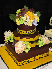 Burgundy Yellow Wedding Cake
