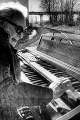 Railroad Tracks and an Organ - Norman 2030 (JLPhotoArt - Jeremy Lindstrom) Tags: ca musician music canada vintage keyboard bc surrealism traintracks surreal oldman retro newwestminster unplugged railroadtracks lowreyorgan