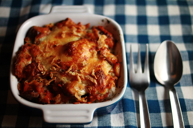 Baked Cheesy & Spicy Eggplant Sambal with Rice