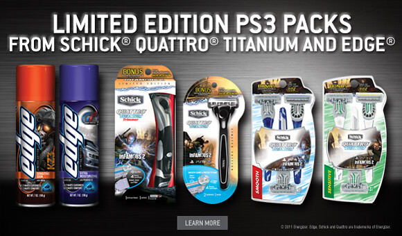 Limited Edition PS3 Packs from Schick Quattro Titanium and Edge