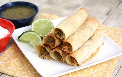 Creamy Baked Chicken Taquitos | Tracey's Culinary Adventures