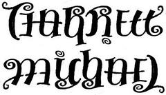 """Garrett"" & ""Michael"" Ambigram Sketch, v.1"