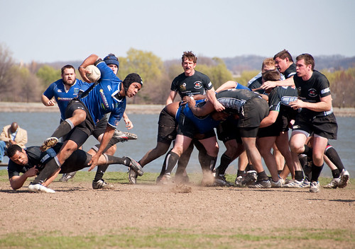 Rugby Match: Eluding a Tackler