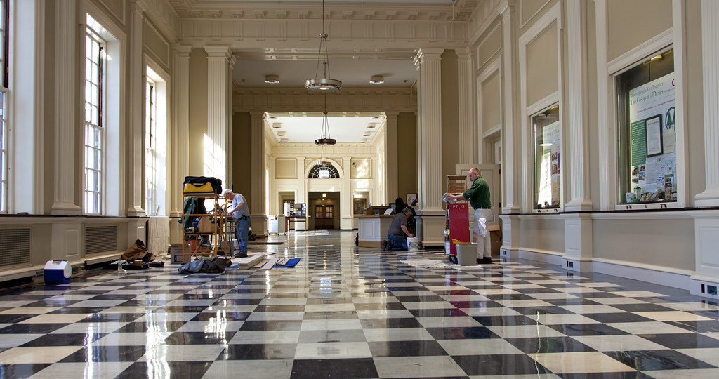 The Baker Library Main Hall is currently undergoing improvements