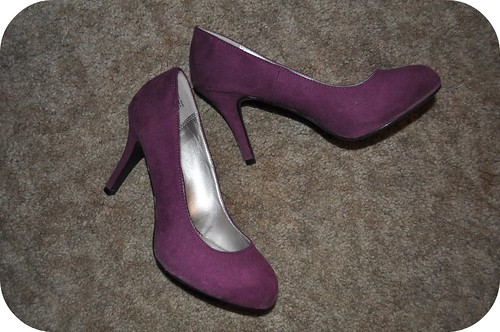 1 Pair: 2 Ways Purple Suede Heels