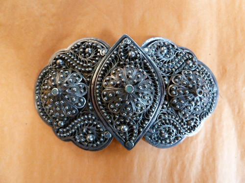 B461 Russian Sterling Silver Belt Buckle