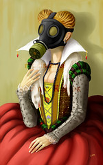 Renaissance (isolationary) Tags: art digital painting dead ermine queen gasmask ames elizabethan kosmos postapocalyptic apocalypsedress