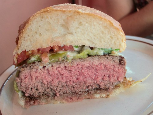 Green Chile burger - cross section