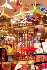 Origami Birds (Gary Burke.) Tags: nyc newyorkcity ny newyork color birdcage birds shop canon paper eos rebel store origami colorful display crane manhattan cage terminal midtown trainstation grandcentralstation gothamist dslr eastside stationarystore mainconcourse garyburke klingon65 t1i canoneosrebelt1i