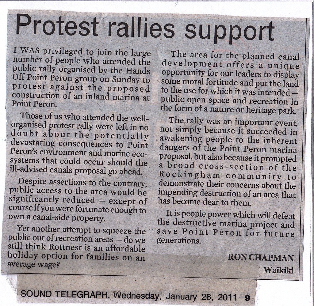 Letter: Protest rallies support