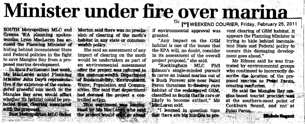 Article: Minister uner fire over marina