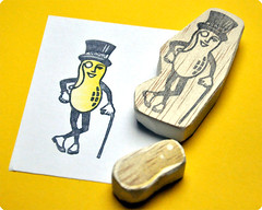 Mr Peanut hand carved rubber stamps