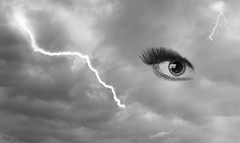Eye Of The Storm (DaisyDeeM) Tags: eye cloud storm blackandwhite monochrome composite lightening