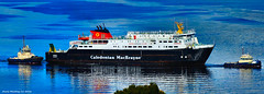 Scotland Greenock arriving at the ship repair dry dock large car ferry Hebrides 1 October 2016 by Anne MacKay (Anne MacKay images of interest & wonder) Tags: scotland greenock passenger ship caledonian macbrayne car ferry hebrides tug tugs xs1 1 october 2016 picture by anne mackay