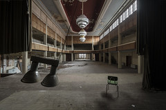 When the lights go down (Kriegaffe 9) Tags: ballroom chandelier stage abandoned empty