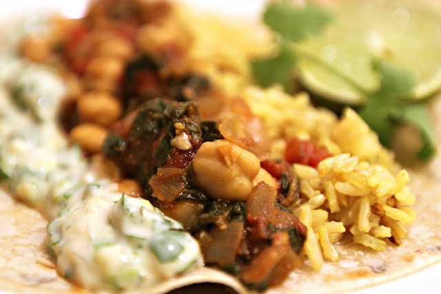 Spinach and chickpea sabzi