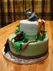 Baby Jungle Cake for Tiffany 2 (MamaWaCakes) Tags: blue elephant green monkey chocolate lion vanilla giraffe babyshower fondant gumpaste babyanimals jungletheme customcake safaritheme stackedcake sugarfigurines sugarmodel
