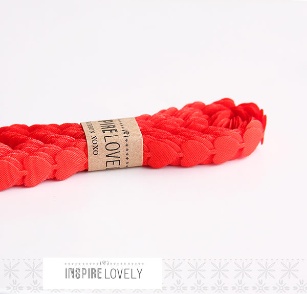 red puffy heart ribbon - perfect xo