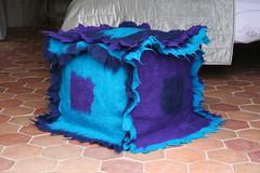 pouf made of felt (Factor-Li) Tags: blue aqua purple felt textile pouf footstool