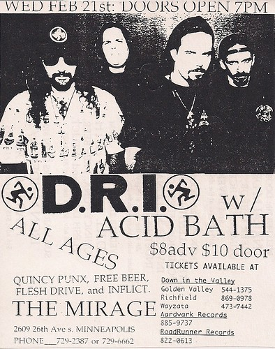 02/21/96 DRI/Acid Bath/Quincy Punx/Free Beer/Fesh Drive/Inflict @ Minneapolis, MN (handbill)