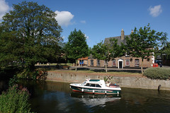 The Water Taxi (tjsphotobrigg) Tags: uk trees summer england boats lincolnshire rivers welland towns watertaxi spalding