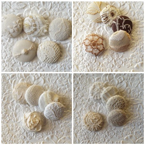 More ivory mix handmade fabric buttons....